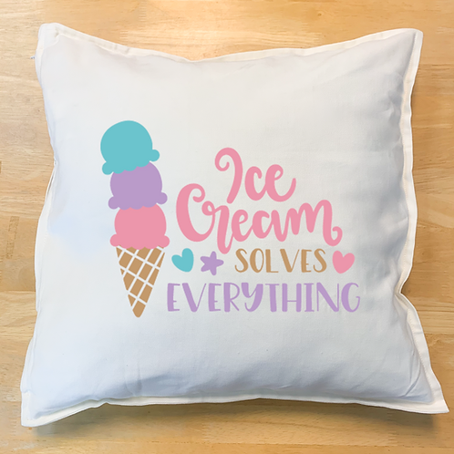 """Ice cream solves everything"" Pillow"