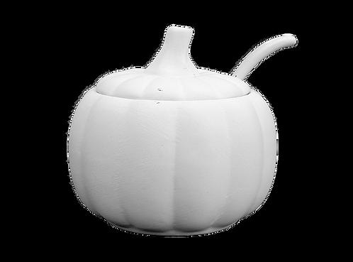 """Pumpkin sugar pot with spoon - 3 ⅞"""" W x 3 ⅝"""" H x 2 ½"""" Dia (8 Ounces)"""