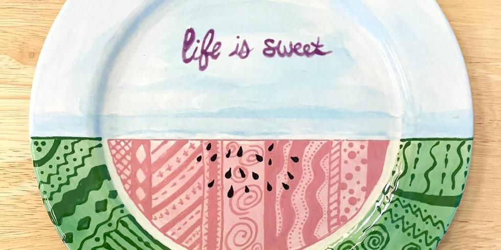 Life is sweet Watermelon plate (1)