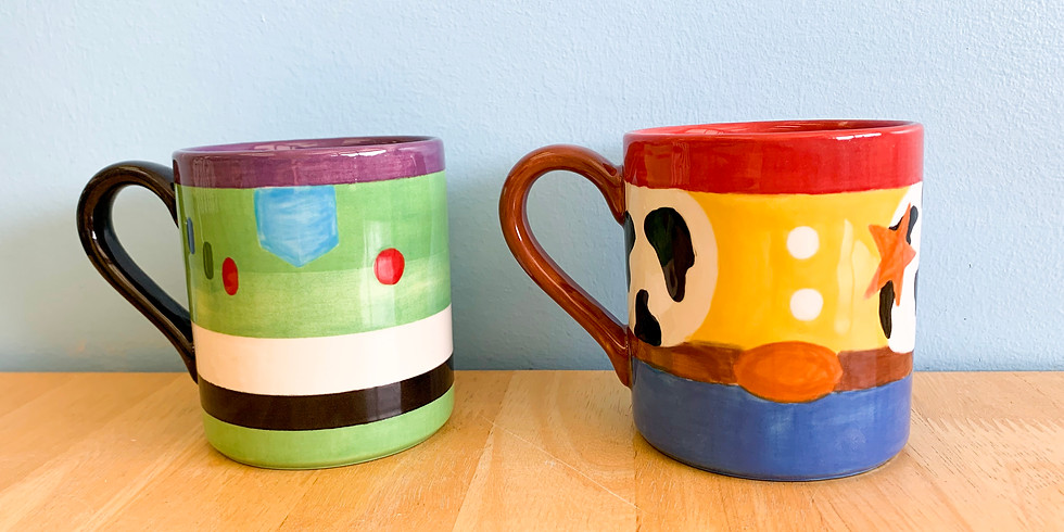 Pottery Painting- Toy Story 4 Ceramic Mug w/ Forky take home project.