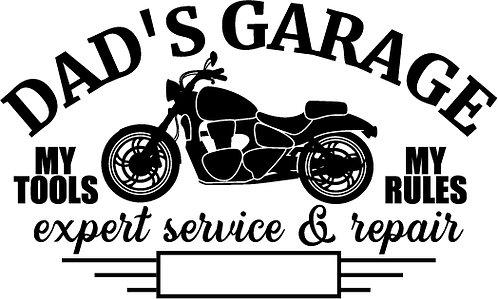 """Dad's Garage"" Motorcycle Stencil"
