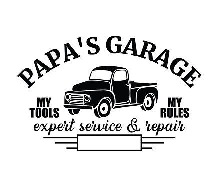 """""""Papa's Garage"""" Stencil"""