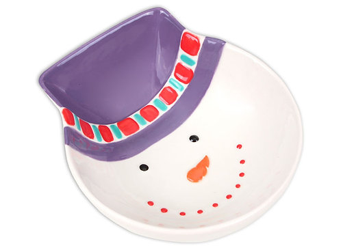 "Snowman bowl with hat - 5 1½"" L x 4 ¾"" W x 1 ¾"" H"