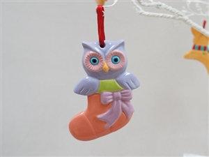 "Owl in stocking ornament - Size:4"" x 3"" x 5/8"""
