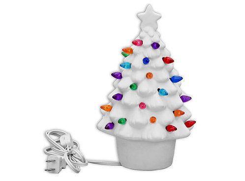 "Small lighted christmas tree - 9 ¼"" H x 5 ¼"" Dia."