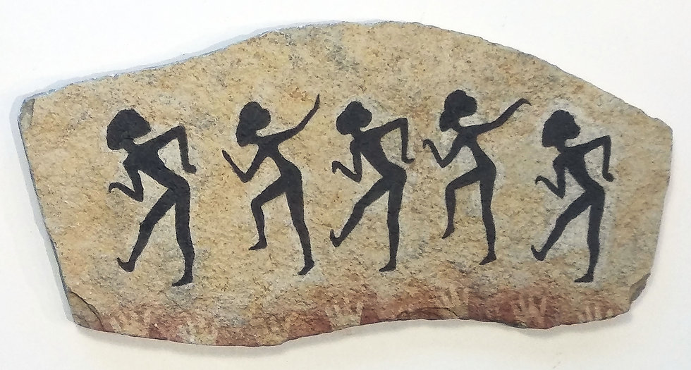 Young Dancers painting on slate