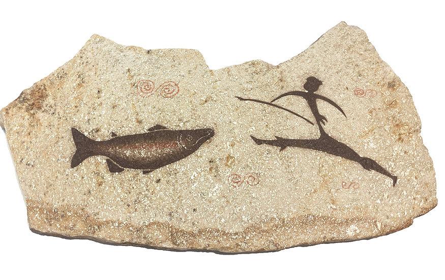 Large Fishing painting on quartzite