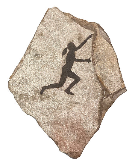 Rock Climber painting on gold sandstone