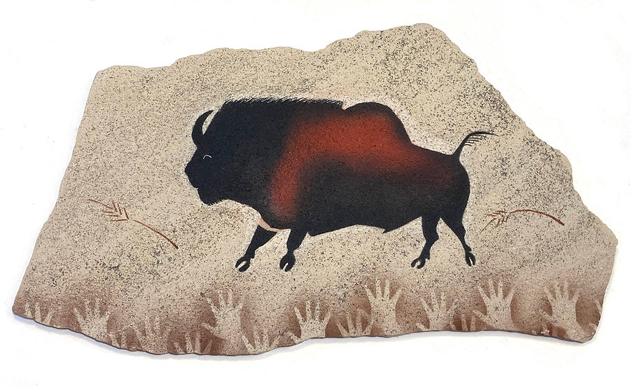 Lascaux Bison painting on fossil sandstone