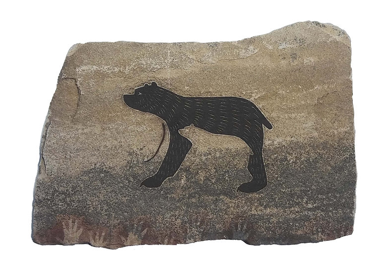 Two Bears painting on sandstone
