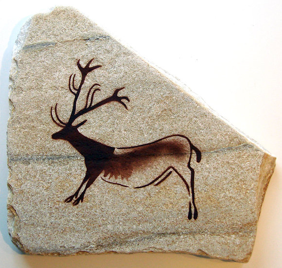Lascaux Reindeer painting on quartzite