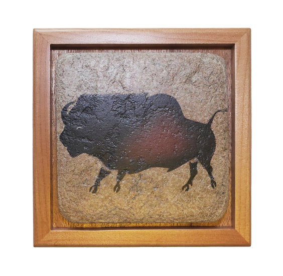 Stone topped wood box with Lascaux Bison painting