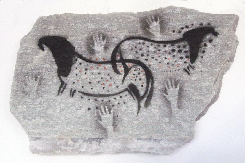 Pech Merle Ponies painting on quartzite