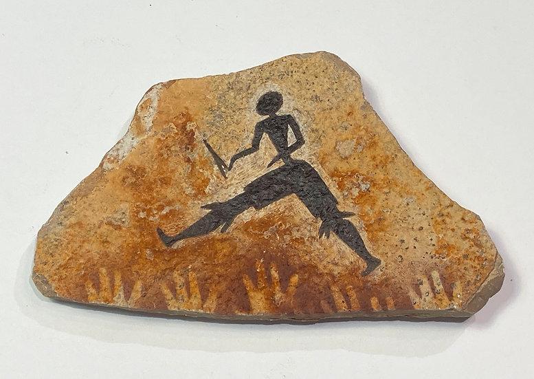 Running Man stone magnet painting