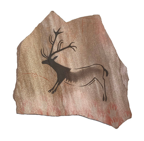 Small Lascaux Reindeer painting on gold sandstone