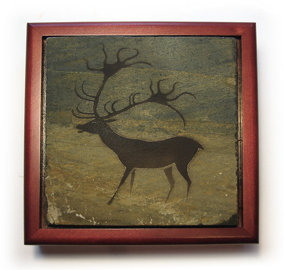 Stone topped wood box with Lascaux Deer painting