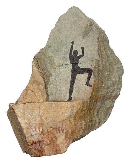 Rock Climber painting on slate