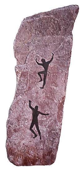 Climber painting on purple stone