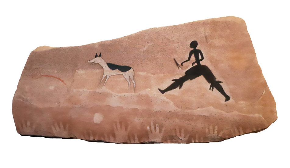 First Dog and Running Man on sandstone