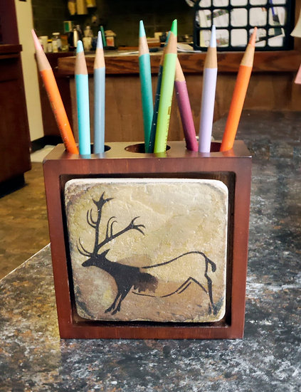Stone panel wood pencil holder with Lascaux Reindeer painting