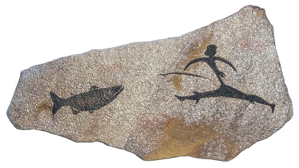 Fishing painting on sandstone