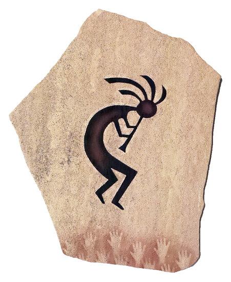 Kokopelli painting on sandstone