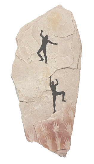 Two Climbers painting on sandstone
