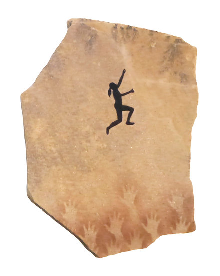 """Rock Climber painting on """"fossil"""" sandstone"""