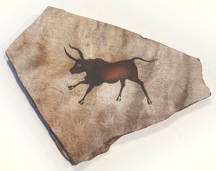 Lascaux Bull painting on gold sandstone