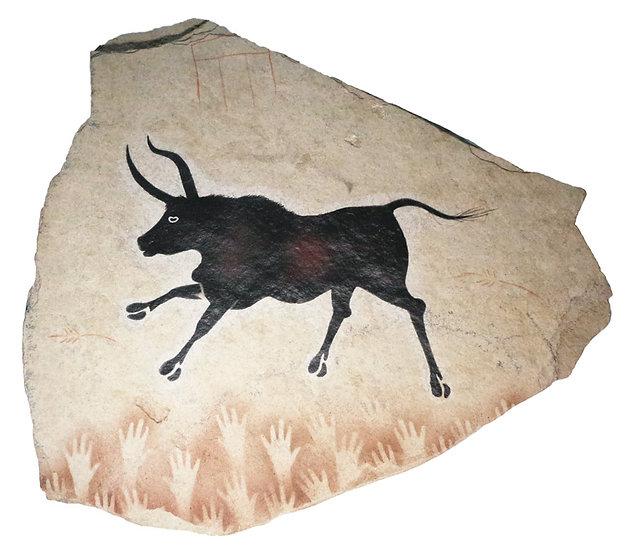 Lascaux Bull painting on sandstone