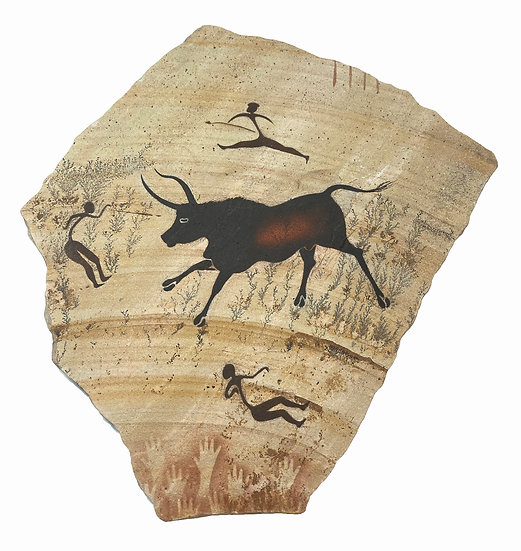 "Bull Hunters painting on ""fossil"" sandstone"