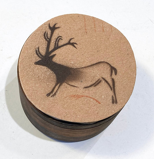 Stone topped acacia salt box with Lascaux Reindeer painting
