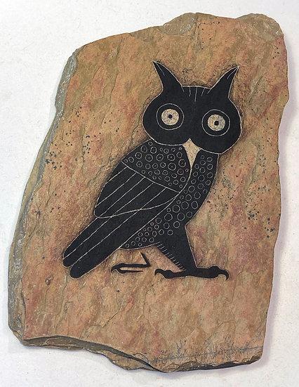 Owl primitive painting on slate