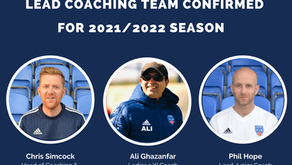 Lead Coaching Team confirmed for the 2021/2022 season...