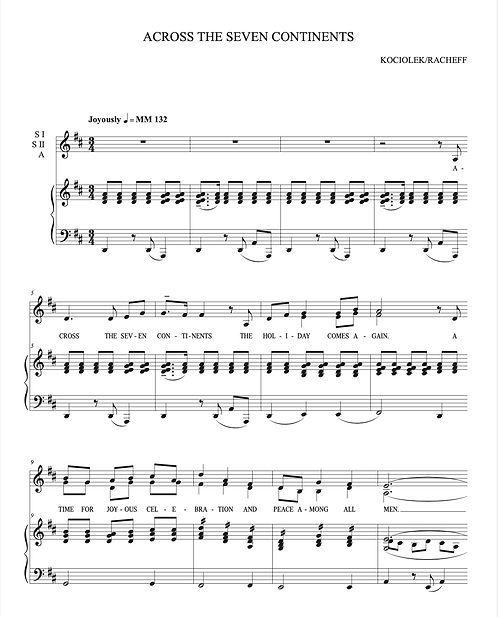 ACROSS THE SEVEN CONTINENTS (Christmas/Holiday Uptempo) SATB Choir