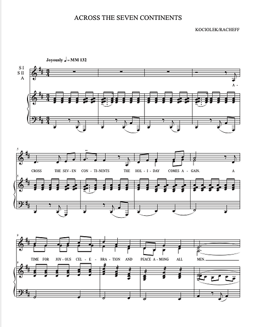 ACROSS THE SEVEN CONTINENTS (Christmas/Holiday Uptempo) SATB Choir