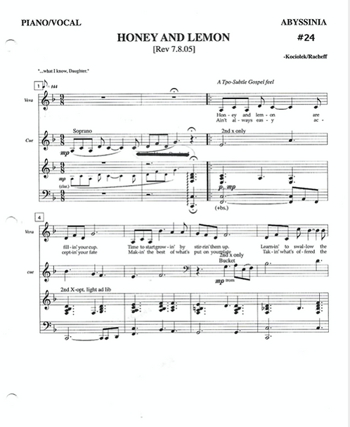 HONEY AND LEMON (from ABYSSINIA) Ballad, Alto/Mezzo-Soprano