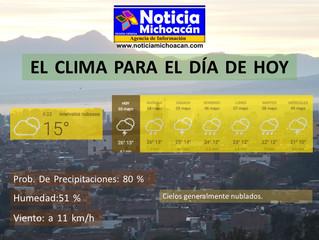 Clima para Zacapu y la Región, Cielos generalmente nublados todo el día