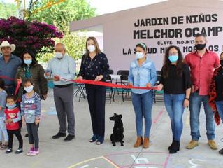 Presidente de Morelos Inauguro Techumbre en el Jardín de Niños de la Comunidad la Salud