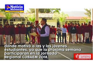 Entrega apoyo edil de Tlazazalca a alumnos que participaran en la jornada regional COBAEM 2018