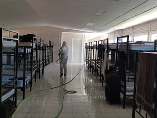 Continúas las labores para combatir el COVID-19, en los Cuarteles de la Policía Michoacán