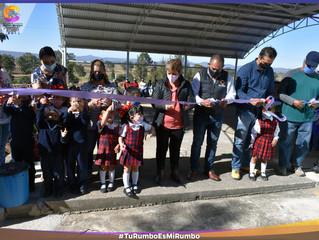 Ariel Trujillo inaugura techumbre en jardín de niños Josefa Ortiz de Domínguez del rodeo.