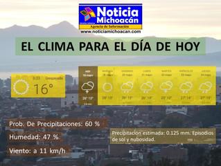 Clima para Zacapu y la Región, Precipitación estimada: 0.125 mm. Episodios de sol y nubosidad