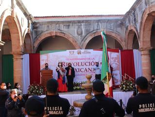 Ayuntamiento de Puruándiro Realiza Acto Cívico por 110 Aniversario de la Revolución Mexicana