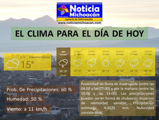 Clima para Zacapu y la Región, Posibilidad de lluvia de madrugada (entre las 04:00 y las 07:00) y po