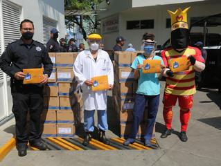 Distribuyen SSP y Monarcas Morelia suero hidratante al Hospital Civil y Policía Michoacán