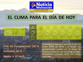 Clima para Zacapu y la Región, Posibilidad de aguacero casi todo el día y la noche (entre las 04:00