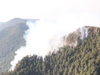 Entra en operación helicóptero para apagar incendio en cerro El Tzirate, en Quiroga