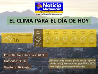 Clima para Zacapu y la Región, Posibilidad de llovizna por la noche (a partir de las 22:00)