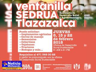 Estará la oficina de SEDRUA todos los jueves en el municipio de Tlazazalca